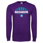 Purple Long Sleeve T Shirt-Buccaneers Basketball Half Ball