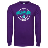 Purple Long Sleeve T Shirt-Buccaneers Basketball Arched Ball