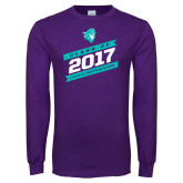 Purple Long Sleeve T Shirt-Class Of - Slanted Banners, Personalized Year