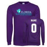 Purple Long Sleeve T Shirt-Primary Logo, Custom Tee w/ Name and #