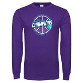 Purple Long Sleeve T Shirt-Suncoast Mens Basketball Champions
