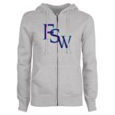 ENZA Ladies Grey Fleece Full Zip Hoodie-FSW