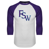 White/Purple Raglan Baseball T Shirt-FSW