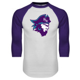 White/Purple Raglan Baseball T Shirt-Pirate