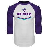 White/Purple Raglan Baseball T Shirt-Buccaneers Baseball Plate