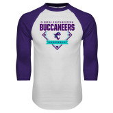 White/Purple Raglan Baseball T Shirt-Buccaneers Baseball Diamond