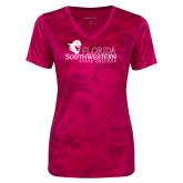 Ladies Pink Raspberry Camohex Performance Tee-Primary Logo