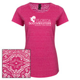 Ladies Dark Fuchsia Heather Lace Tee-Primary Logo