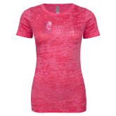 Next Level Ladies Junior Fit Fuchsia Burnout Tee-Primary Logo Foil