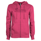 ENZA Ladies Fuchsia Fleece Full Zip Hoodie-Primary Logo Hot Pink Glitter
