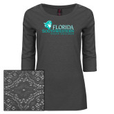 Ladies Charcoal Heather Lace 3/4 Sleeve Tee-Primary Logo