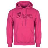 Fuchsia Fleece Hoodie-Primary Logo Hot Pink Glitter