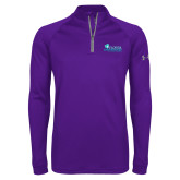 Under Armour Purple Tech 1/4 Zip Performance Shirt-Primary Logo
