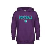 Youth Purple Fleece Hoodie-Florida SouthWestern Softball Stencil