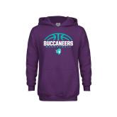 Youth Purple Fleece Hoodie-Buccaneers Basketball Half Ball
