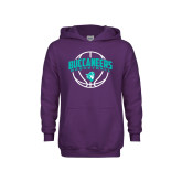 Youth Purple Fleece Hoodie-Buccaneers Basketball Arched Ball