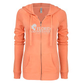 ENZA Ladies Coral Light Weight Fleece Full Zip Hoodie-Primary Logo White Soft Glitter