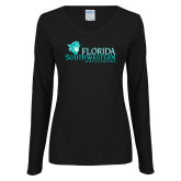 Ladies Black Long Sleeve V Neck T Shirt-Florida SW Buccaneers