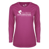 Ladies Syntrel Performance Raspberry Longsleeve Shirt-Primary Logo
