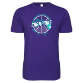 Next Level SoftStyle Purple T Shirt-Suncoast Mens Basketball Champions