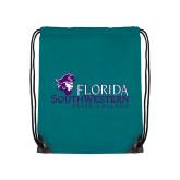 Teal Drawstring Backpack-Primary Logo