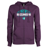 ENZA Ladies Purple Fleece Full Zip Hoodie-Buccaneers Basketball Half Ball