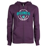 ENZA Ladies Purple Fleece Full Zip Hoodie-Buccaneers Basketball Arched Ball