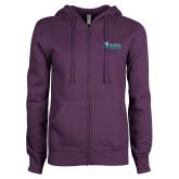 ENZA Ladies Purple Fleece Full Zip Hoodie-Florida SW Buccaneers