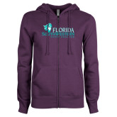 ENZA Ladies Purple Fleece Full Zip Hoodie-Primary Logo