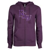 ENZA Ladies Purple Fleece Full Zip Hoodie-FSW