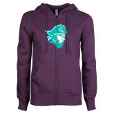 ENZA Ladies Purple Fleece Full Zip Hoodie-Pirate