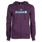 ENZA Ladies Purple Fleece Full Zip Hoodie-FSW Buccaneers Baseball