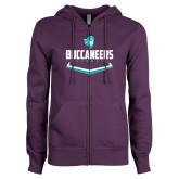 ENZA Ladies Purple Fleece Full Zip Hoodie-Buccaneers Baseball Plate