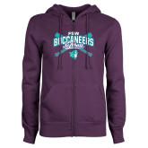 ENZA Ladies Purple Fleece Full Zip Hoodie-FSW Buccaneers Softball Crossed Sticks
