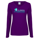 Ladies Purple Long Sleeve V Neck T Shirt-Primary Logo