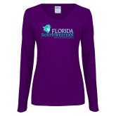 Ladies Purple Long Sleeve V Neck T Shirt-Florida SW Buccaneers