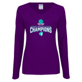 Ladies Purple Long Sleeve V Neck Tee-Suncoast Womens Basketball Champions
