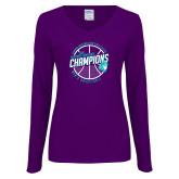 Ladies Purple Long Sleeve V Neck Tee-Suncoast Mens Basketball Champions