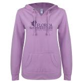 ENZA Ladies Hot Violet V Notch Raw Edge Fleece Hoodie-Primary Logo Purple Glitter