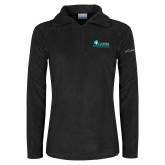 Columbia Ladies Half Zip Black Fleece Jacket-Primary Logo