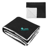 Super Soft Luxurious Black Sherpa Throw Blanket-Primary Logo