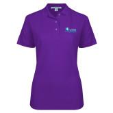 Ladies Easycare Purple Pique Polo-Primary Logo