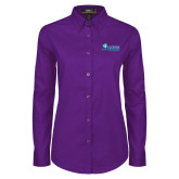 Ladies Purple Twill Button Down Long Sleeve-Florida SW Buccaneers