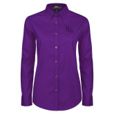 Ladies Purple Twill Button Down Long Sleeve-FSW
