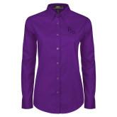 Ladies Purple Twill Button Down Long Sleeve-FSW