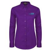 Ladies Purple Twill Button Down Long Sleeve-School of Education