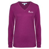 Ladies Deep Berry V Neck Sweater-Primary Logo