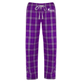 Ladies Purple/White Flannel Pajama Pant-Primary Logo