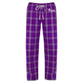 Ladies Purple/White Flannel Pajama Pant-Primary Logo
