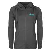 Ladies Sport Wick Stretch Full Zip Charcoal Jacket-Primary Logo